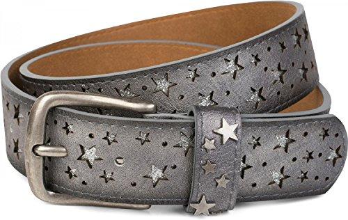 styleBREAKER cinturón con estrella recortada y pequeñas lentejuelas brillantes, cinturón brillante «vintage», señora 03010072