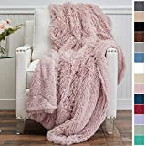 The Connecticut Home Company Shag with Sherpa Reversible Throw...