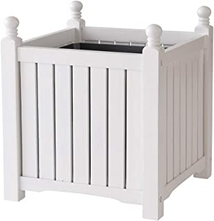 DMC Products Lexington 20-Inch Square Solid Wood Planter, White