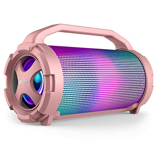 ZIZO Aurora Z2 Portable 14W Bluetooth Speaker with 360° LED Lightshow MicroSD and USB Playback, Aux Line-in and Rechargeable Battery Rose Gold