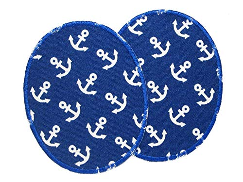Set 2 Knieflicken Anker blau, Flicken zum Aufbügeln für Kinder, 8x10 cm