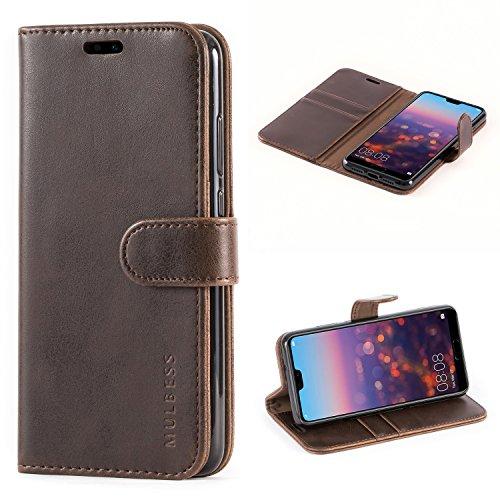 Mulbess Handyhülle für Huawei P20 Hülle Leder, Huawei P20 Handy Hülle, Vintage Flip Handytasche Schutzhülle für Huawei P20 Hülle, Kaffee Braun