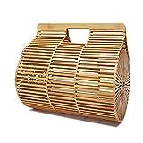Gaorb Lady Straw Bag, Bolso de Playa de bambú elíptico ins. Bolsa de Playa al Aire Libre con Red Hueca. Bolso Rojo de bambú para Compras de Viaje y Uso Diario. (Size : S)