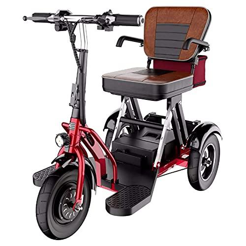 YX-ZD Scooters Eléctricos De Movilidad De 3 Ruedas Plegables para Adultos Mayores Discapacitados, con Motor De 300 W / 20 Km/H De Ajuste De 3 Velocidades/Doble Tracción Trasera,55km ✅