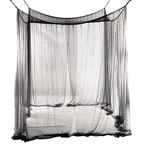 MMWW 4-hoeks bedhemel klamboe voor queensize/kingsize bed 190 * 210 * 240cm zwart-zwart_190cm (B) _x210cm (L) _x_240 (H)