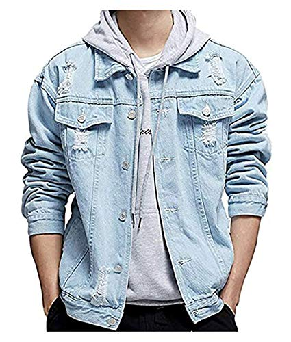 LifeHe Men's Distressed Ripped Denim Jacket Button Down Trucker Jean Coat (Light Blue, L)