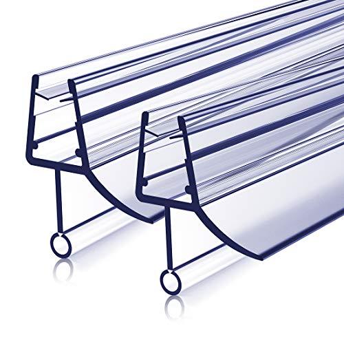 Duschdichtung Ersatzdichtung 2x80cm Duschtür Dichtung, Bodendichtung Schwallschutz mit Wasserabweiser für Duschkabine Duschwand Glas mit 4-6mm Glasdicke