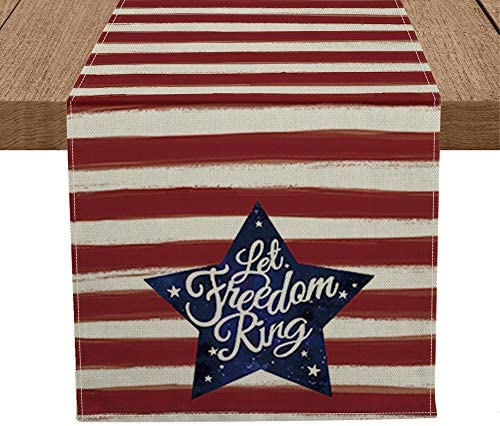 Artoid Mode Patriotic Watercolor Stripes Star Table Runner Let Freedom Ring Seasonal 4th of product image