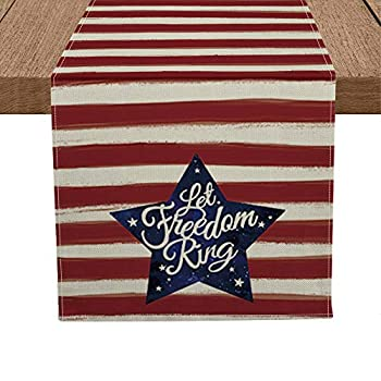 Artoid Mode Patriotic Watercolor Stripes Star Table Runner Let Freedom Ring Seasonal 4th of July Memorial Day Independence Day Kitchen Dining Table Decoration for Home Party Decor 13 x 72 Inch