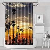 YUYUTE Cortinas de baño Decoración de bañoBath Curtain Sunset Palms Shower Curtain Casual Style Water Resistant for Bathroom,Printing Bath Curtains