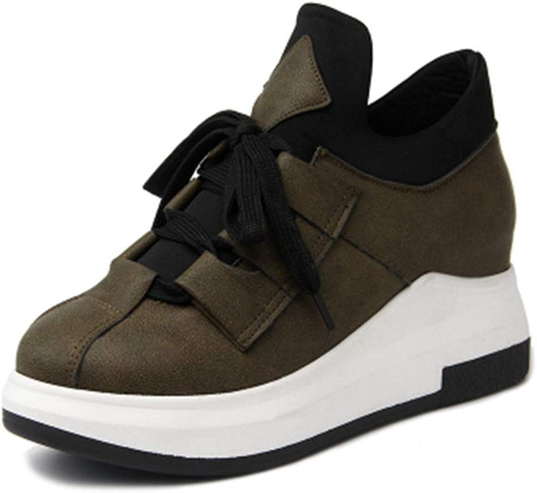 Women Casual Wedge Sneaker Platform Height Increasing Korean Hidden Heel Flock Fashion Wedge Flats shoes