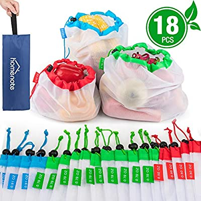 HOMENOTE Reusable Produce Bags with Storage Handbag, Eco-Friendly Mesh Grocery Bags with Tare Weight Tags, Lightweight and Washable - 3 Sizes