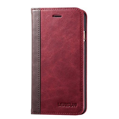 LENSUN Echtleder Hülle für iPhone 8 Plus, iPhone 7 Plus Leder Hülle Handytasche mit Kartenfach Flip Hülle Schutzhülle Lederhülle für iPhone 7+/ iPhone 8+ - Wein Rot