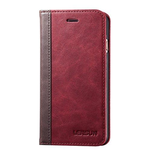LENSUN Funda iPhone 7 Plus / 8 Plus, Funda de Cuero Genuino Carcasa con Tapa y Cartera Tarjetas Soporte Plegable Protección Libro para Apple iPhone 7/8 Plus 5,5' - Rojo Vino (7P-FG-WR)