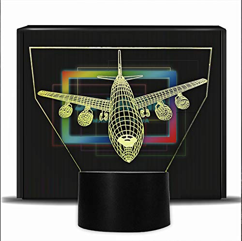 Aircraft 3D Illusion Lamp Bedroom Led Night Lights -7 Colors Flashing USB Touch Sensor Desk Light for Boys Men Birthday Gifts, Home Decoration Lamps (Airplane)