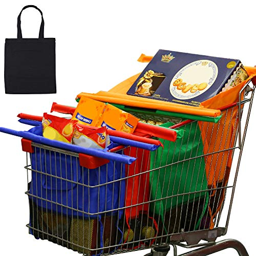 Veli Bolsas Reusables Kit de 4 Bolsas de compras reutilizables y organizador de supermercado Bolsa de almacenamiento - Kit de 4+1 bolsas reusables Adaptadas para carritos de supermercados en Mexico (Multicolor+bolsa)