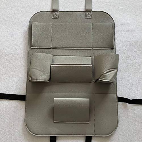 WSKIRNL 2Pcs Auto Rückenlehnenschutz,Auto Organizer Bag Grau Sitz Hängende Tasche Tasche Leder Klappstuhl Gesäßtasche Kick Matten Autositz Rückenprotektor