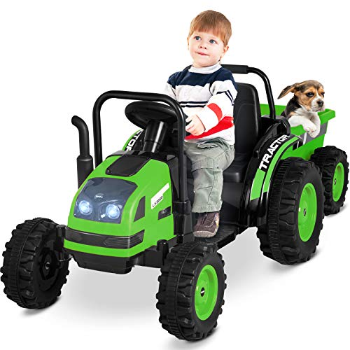 Uenjoy Electric Ride On Tractor with Trailer, Battery Powered Tractor Motorized Vehicles for Kids W/Remote Control, Music, Horn, Spring Suspension,Green