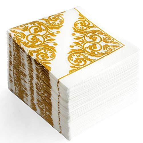 ホワイト&ゴールド 花柄ペーパーカクテルナプキン ? 再利用可能/使い捨て ファンシーフラワーペーパーナプキン バスルーム用 ? MOCKO | ティーナプキ