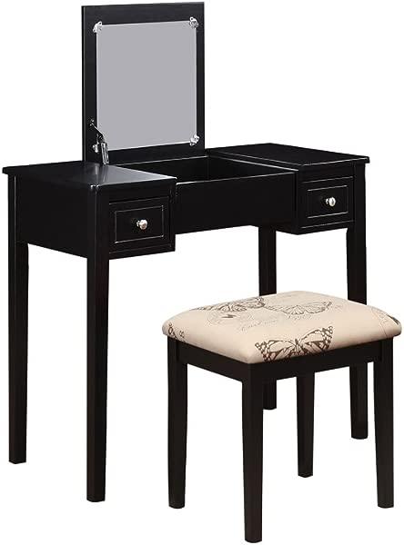 Linon AMZN0328 Vanity Set Black
