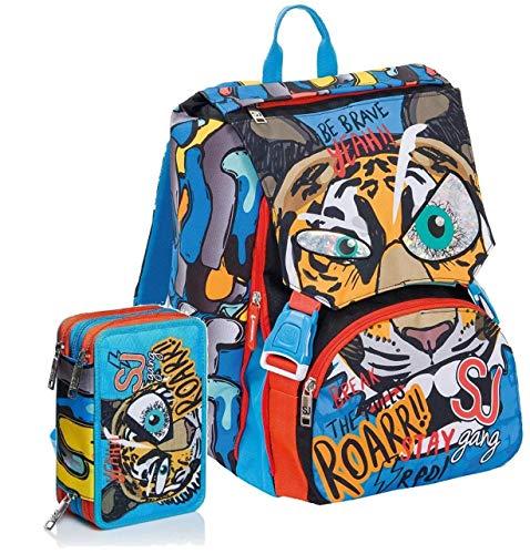 Schoolpack Zaino Scuola Seven SJ Gang Animal Boy Blu Estensibile + Astuccio 3 Zip Completo