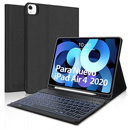 Teclado para iPad Air 4 10.9 Pulgadas 2020, Funda con Teclado Español Desmontable Bluetooth para iPad Air 4 /iPad Pro 11 2020/2018, KVAGO Magnético Inteligente Funda con Función de Auto Sueño/Estela
