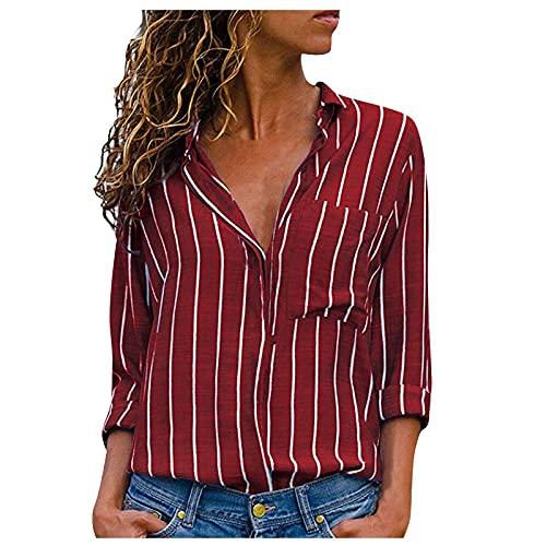 Shopler Camiseta de manga larga para mujer a rayas de manga larga con cuello de pie con botones y bolsillo de bolsillo casual de moda blusa Tops, rosso, XXXXXL