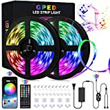 Led Strip Lights, 65.6ft Smart RGB 5050 SMD Led Light Strips Music Sync 600LEDs Color Changing Strip Light Bluetooth APP Control with 40-Key Remote for Bedroom Room Kictchen Home TV