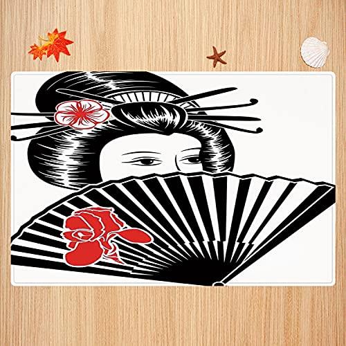 Tapis de Bain antidérapant,Japonais, Portrait de Femme Japonaise couvrait Son Visage avec Un Authentique Ventilateur Tapis Absorbant Tapis de Sol Microfibre Super Doux 50 x 80cm