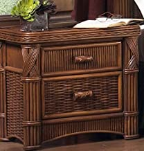 Wicker Paradise Barbados Two Drawer Rattan Nightstand, Small