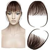 Air Pony Haarteil Echthaar Dunkelbraun #2 Clip in pony - Extensions Echthaar Haarteil Haarverlängerung mit Tempel Ein Stück 3g