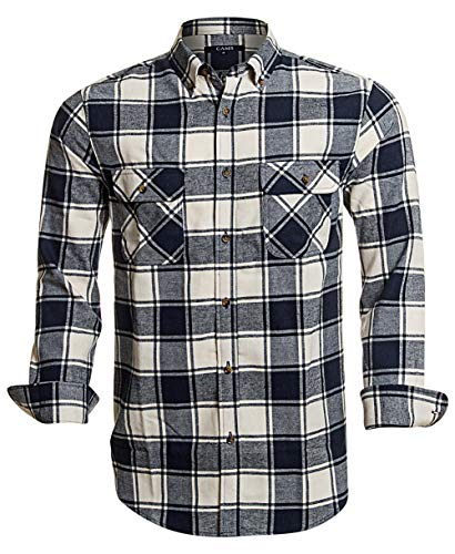 Flannel Shirts for Men Plaid Regular Fit Long Sleeve Button Down Mens Flannel Shirts,CAFL008,X-Large