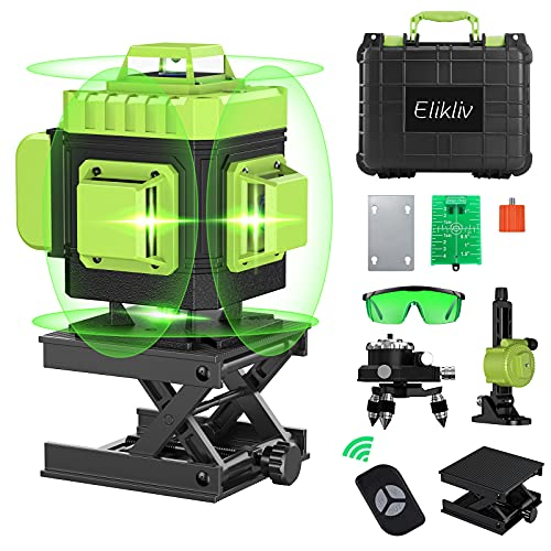 360 Laser Level Self Leveling, Elikliv 4D Green Beam 16 Lines with Horizontal Vertical Four-Plane Leveling and Alignment Laser Level with 2 Rechargeable Battery,1/4