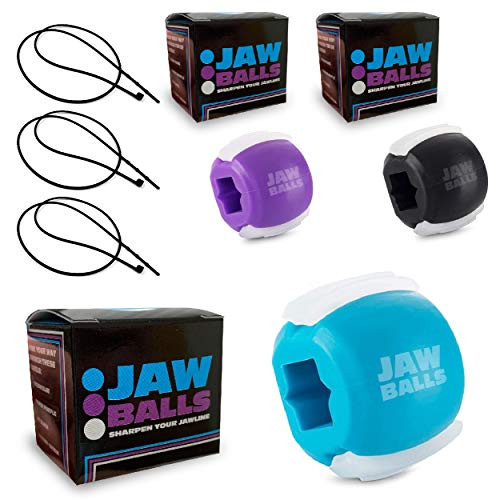 JAW BALLS – Jaw Exerciser & Double Chin Reducer   The Best Jawline Shaper and Face Slimmer in One Simple Facial Workout   for Men and Women   by Denali Depot (Challenger Value-Pack   Level 1 2 3)