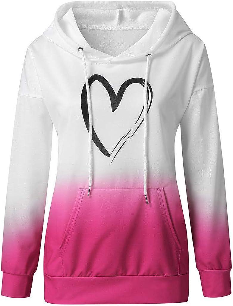 Eduavar Womens Hoodies, Women Teen Girls Fashion Graphic Printed Long Sleeve Drawstring Sweatshirt Casual Hoodie Tops