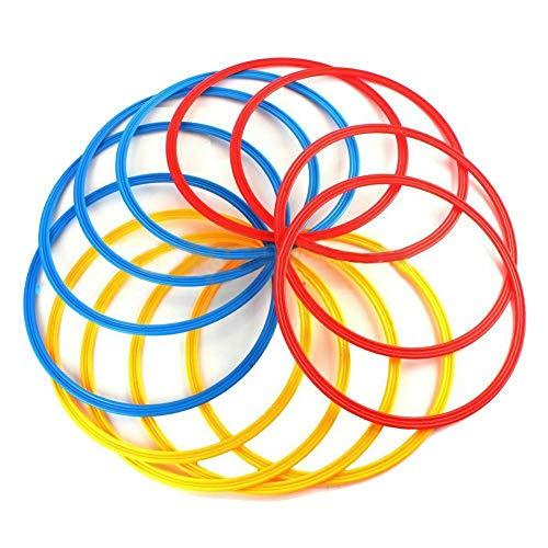 LZDseller01 Übungsring, Fußball-Training, Geschwindigkeitsring, Beweglichkeitstraining, Sport-Ringe, 12 Stück, rot+blau+gelb, 37cm