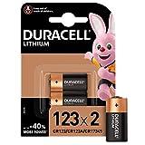 Duracell 123 Pile lithium haute puissance 3V, lot de 2 (CR123 / CR123A / CR17345), pour caméras Arlo, capteurs, verrous sans clé, flashs photo et lampes de poche