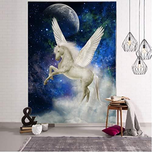 RTEAQ Tapiz de Caballo Pegaso Colgante de Pared Universo Estrellado Tapiz de Pared psicodélico Mandala Bohemio Tapiz de Dormitorio hippie-39x59inch(100x150cm)