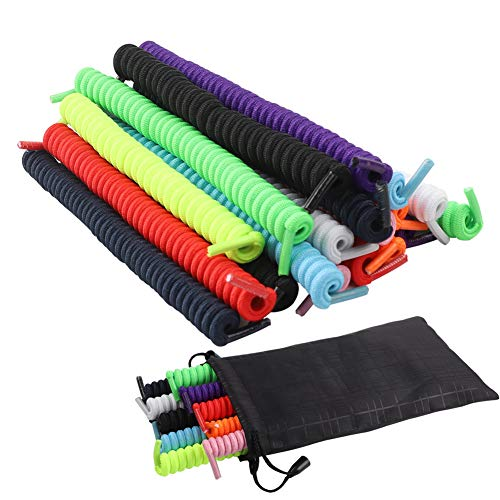 10 Pairs Curly No Tie Shoelaces Anti-fall Elastic Spring Shoe Laces No Tie Trainer Kids Shoe Laces Colours for Childs and Adults Suitable in Sports Flat Shoelace 10 Colors