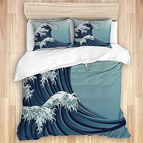 Ruchen Funda nórdica, Azul Estilo japonés Oriental japonés Great Wave en China Kanagawa Antiguo, Lujoso Juego de Cama de Microfibra Suave con Cierre de Cremallera