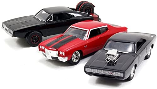 Dom's Rides 3 Modellautos Fast & Furious Set Dodge Chevy 1 55 Jada Toys 97426
