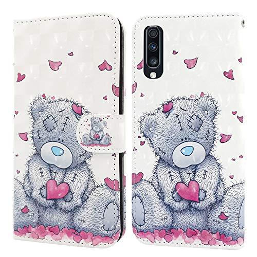 Ailisi Samsung Galaxy A70 Hülle Teddy Bear 3D Muster Handyhülle Schutzhülle PU Leder Wallet Case Flip Case Klapphüllen Brieftasche Ledertasche Tasche Etui im Bookstyle