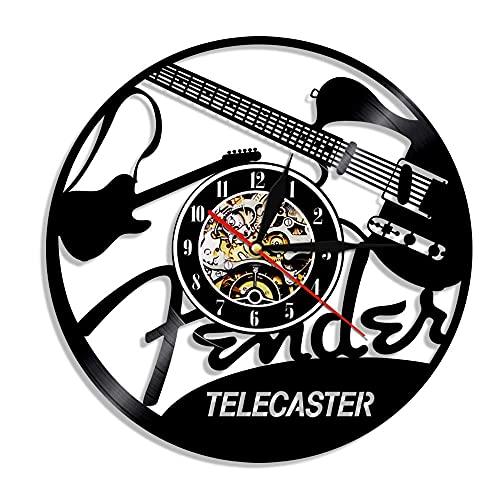 Tbqevc Locutor de televisión, Guitarra, Arte, Reloj de Pared, Instrumento de Rock, diseño de Vinilo, Amante, Familia, 12 Pulgadas