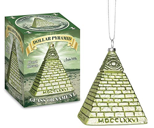 Archie McPhee All Seeing Eye Dollar Pyramid Glass Holiday Ornament