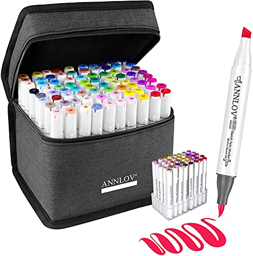 80 Colors Alcohol Brush Markers Set With Stand,ANNLOV Brush & Chisel Double Tip Sketch Art Marker for Kids Drawing Artist Sketching,Adult Coloring and Illustration(Blender Marker and Case included)