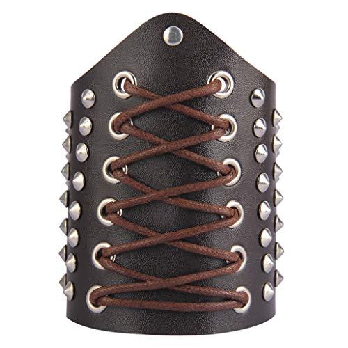 Hellery Vintage Mittelalterliche Armschienen PU Leder Stulpe Armband Breite Armschiene Arm Rüstung Armreif Für Cosplay, Motorrad, Party - Kaffee