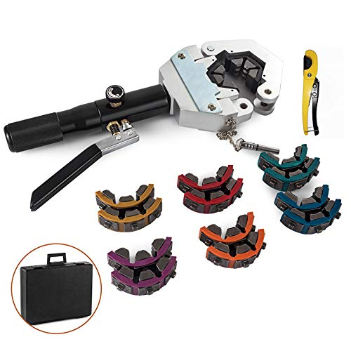 SHZOND 71500 A/C Hose Crimper Hand-held Hydraulic Hose Crimper with 3 Dies Covering Hose and 4 Reduced Barrier Manual Hose Crimper Kit for Repairing AC Hoses on the Vehicle (hydraulic hose crimper)