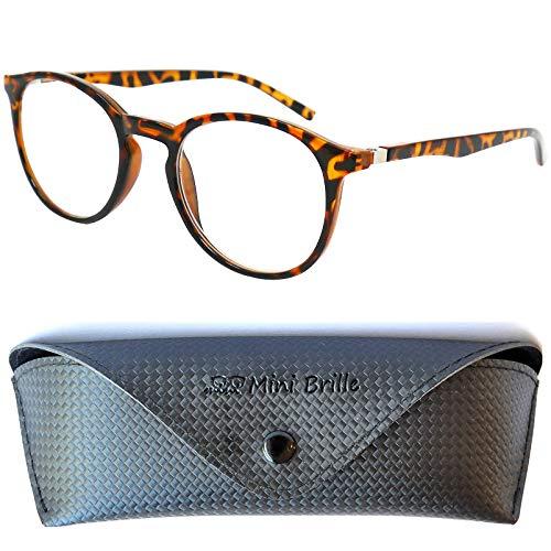 Klassische Nerd Lesebrille mit großen runden Gläsern - mit GRATIS Brillenetui, Kunststoff Rahmen mit Leopardenmuster (Leopard Braun), Lesehilfe Damen und Herren +2.0 Dioptrien