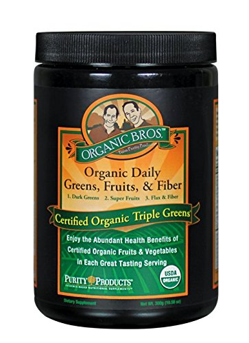 Certified Organic Triple Greens Powder from Purity Products - Featuring USDA and QAI Certified Organic Fruits and Vegetables - Supports Antioxidant Defense, Cardiovascular, Immune Health - 30 Servings