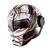 ZHAOJTK Equipo de Proteccion Casco Moto Ironman Racing Motocicleta Casco de Cara Completa Casco Moto Flip-up de Cara Abierta, Matteorangevortex-XL (60-61cm) Equipo de protección al Aire Libre